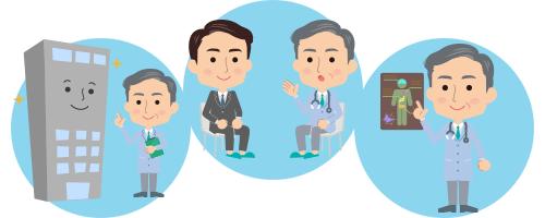 定期健診、職場内巡視、ストレスチェックへの対応、職場内セミナー・健康増進活動の開催などをおこないます。