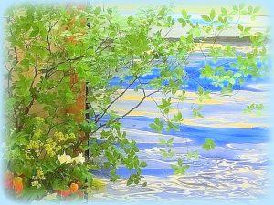 生け花と海の絵